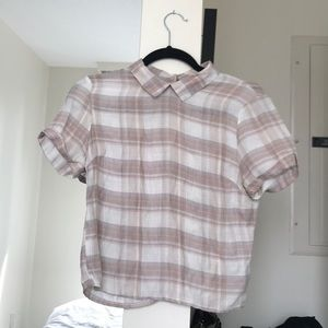 Short sleeve pink plaid top